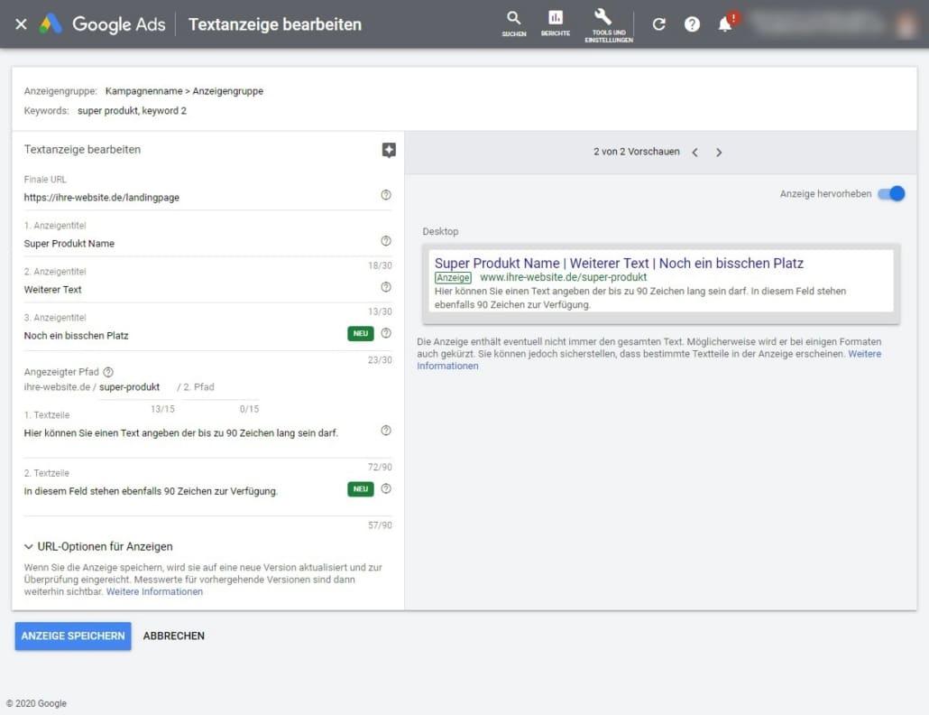 Google Ads Oberfläche zur Anpassung der Textanzeige